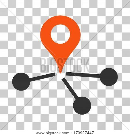 Geo Network icon. Vector illustration style is flat iconic bicolor symbol orange and gray colors transparent background. Designed for web and software interfaces.