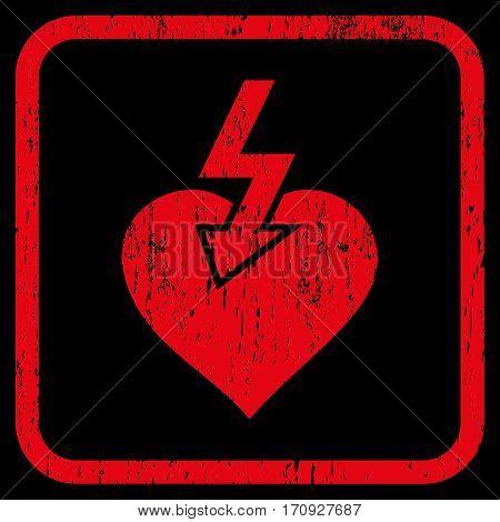 Heart Shock Strike rubber watermark. Vector pictogram symbol inside rounded rectangular frame with grunge design and dust texture. Stamp seal illustration.