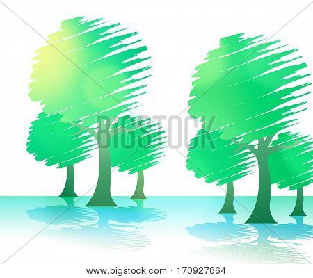 Countryside Trees Represents Woods Branches And Meadows