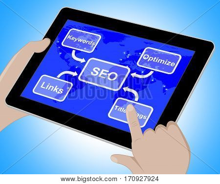 Seo Diagram Showing Use Of Keywords Links Titles 3D Rendering