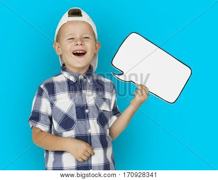 Caucasian Little Boy Holding Chatbox Papercraft