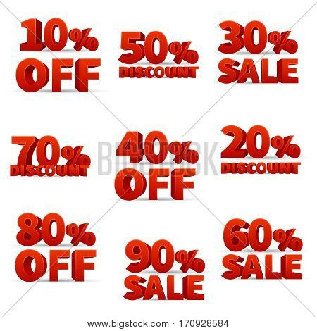 Promotional discount store signs with price percent off vector stock. Set of discount for retail, illustration of red big discounts