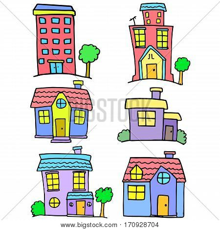 Collection stock of house set vector doodles