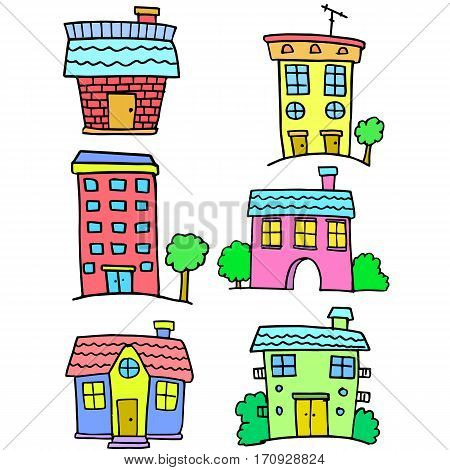 Doodle of house set various vector collection stock