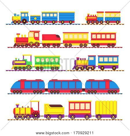 Cartoon kids toy trains, locomotive and wagons vector set. Kids travel color locomotive, toys for transportation illustration