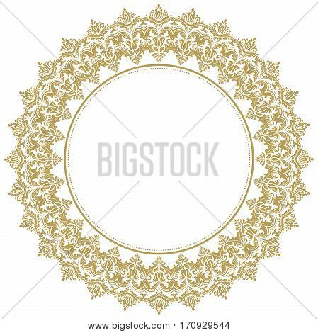Oriental round frame with arabesques and floral elements. Floral fine border. Greeting card with place for text. Golden and white pattern