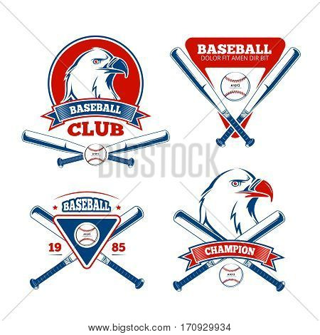 Retro baseball sports vector badges for boys sportswear. Baseball banner label for print clothes, university or school, emblem baseball team illustration
