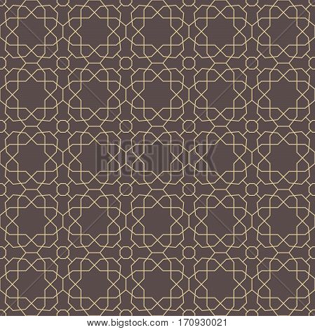 Seamless geometric pattern for your designs and backgrpounds. Modern ornament with repeating elements. Brown and golden pattern