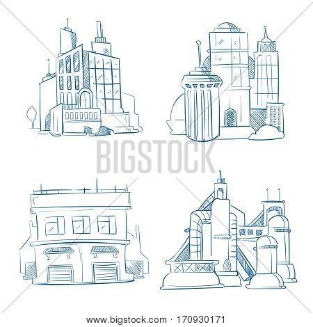 Doodle modern business office, industry factory buildings, warehouse sketch hand drawing vector set. Architecture of business structure building, illustration of industrial buildings