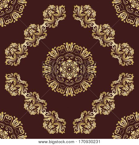 Elegant classic pattern. Seamless abstract background with repeating elements. Brown and golden pattern