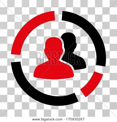 Demography Diagram icon. Vector illustration style is flat iconic bicolor symbol intensive red and black colors transparent background. Designed for web and software interfaces.