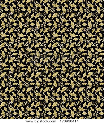 Floral ornament. Seamless abstract classic pattern with flowers. Black and golden pattern