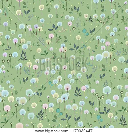 Blossoming Field. Watercolor flowers and plants with green background. Summer floral Seamless Pattern. Illustration.