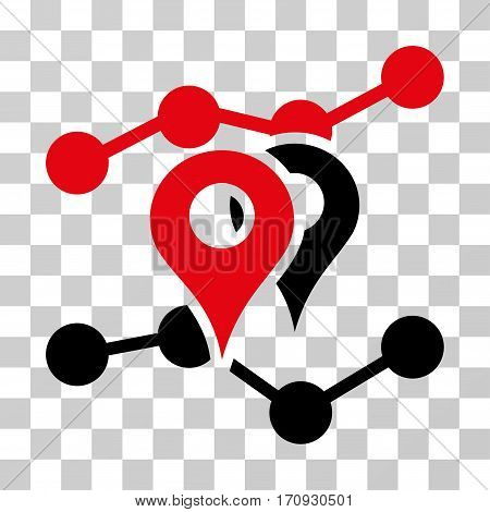 Geo Trends icon. Vector illustration style is flat iconic bicolor symbol intensive red and black colors transparent background. Designed for web and software interfaces.