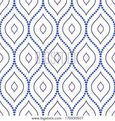 Seamless ornament. Modern geometric pattern with repeating dotted wavy lines. Blue and white pattern