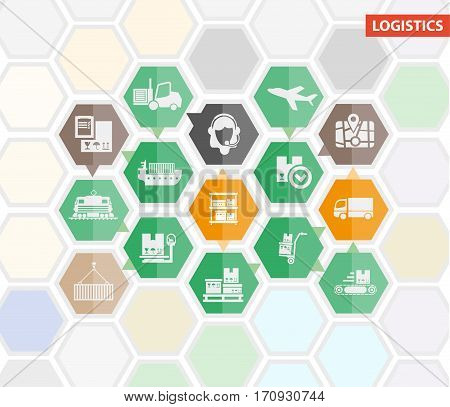 Logistics process infographics and vector template flat icons. Shipping or shipment stages of warehouse, shipping and delivery by air, sea or train cargos
