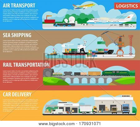 Logistics infographics for shipment cargos types. Banners for air freight or aircraft transport, sea shipping, rail transportation and car delivery. Vector flat templates design