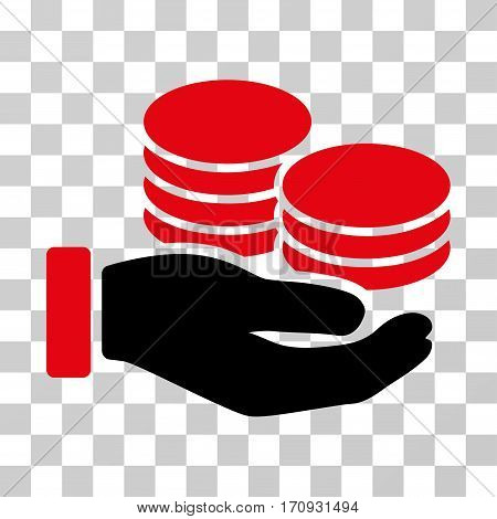 Salary Hand icon. Vector illustration style is flat iconic bicolor symbol intensive red and black colors transparent background. Designed for web and software interfaces.