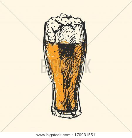 Creative craft beer with mug, bottle element. Vector illustration pub sketch. Hand drawing graphic objects used for advertising festival, beverage, brewery, bar and pub menu.