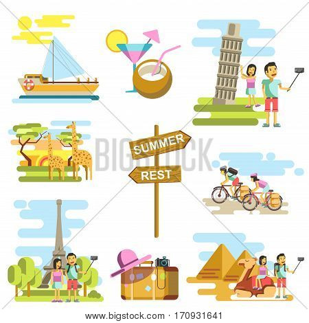 Summer vacation and world travel vector templates. Tourists making selfie photo of landmarks and sightseeings on African safari or Eiffel Tower in France, Tower in Pisa and Egypt pyramids