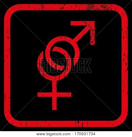 Sex Symbol rubber watermark. Vector icon symbol inside rounded rectangular frame with grunge design and unclean texture. Stamp seal illustration. Unclean red ink emblem on a black background.