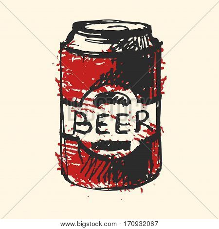 Creative craft beer bottle element. Vector illustration pub sketch. Hand drawing graphic objects used for advertising festival, beverage, brewery, bar and pub menu.