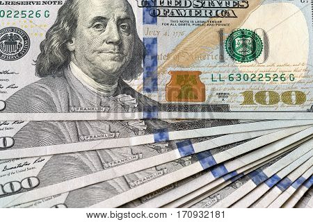 United States of America USD 100 One Hundred Dollars Federal Reserve Note Closeup