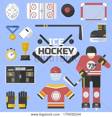 Hockey sport icons equipment design vector illustration. Game symbol ice stick goalkeeper web champion pictogram. Skating helmet sign winter uniform.