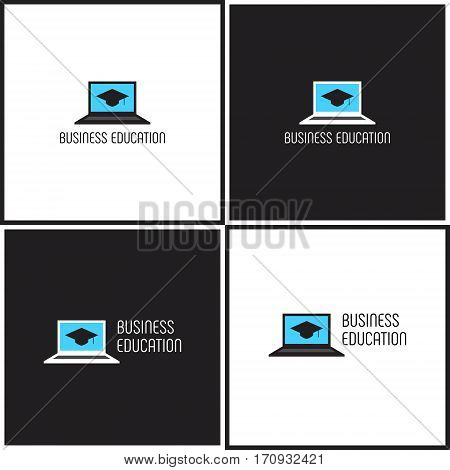 Vector eps logotype or illustration showing business education with computer laptop and graduate hat