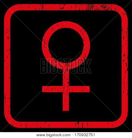 Venus Female Symbol rubber watermark. Vector icon symbol inside rounded rectangle with grunge design and scratched texture. Stamp seal illustration. Unclean red ink sticker on a black background.