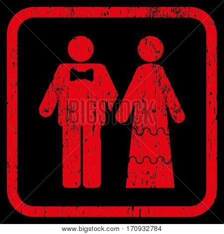Wedding Persons rubber watermark. Vector pictogram symbol inside rounded rectangular frame with grunge design and dust texture. Stamp seal illustration. Unclean red ink sticker on a black background.