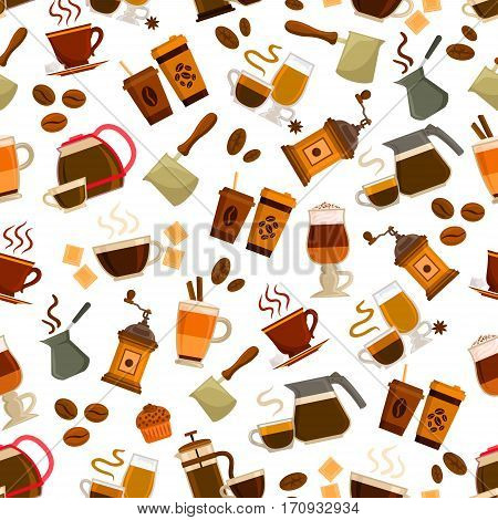 Coffee drink and cocktail with dessert seamless pattern background. Espresso, cappuccino, irish coffee, latte and macchiato cups with bean, pot, grinder, chocolate, cupcake. Coffee shop, cafe design