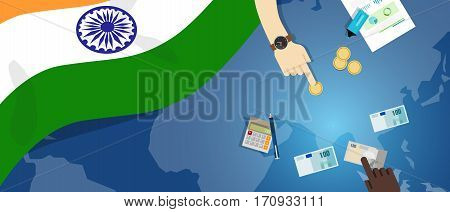 India economy fiscal money trade concept illustration of financial banking budget with flag map and currency vector