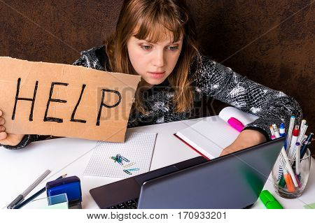 Woman Working On Her Laptop And Asking For Help