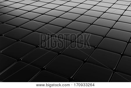 Black abstract image of cubes background. 3d rendering