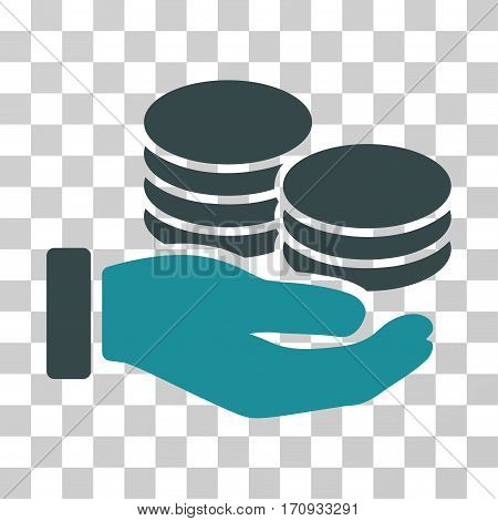 Salary Hand icon. Vector illustration style is flat iconic bicolor symbol soft blue colors transparent background. Designed for web and software interfaces.