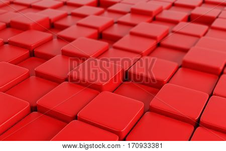 Red abstract image of cubes background. 3d rendering