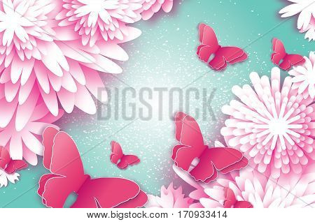 8 March. Happy Mother's Day. Paper cut Butterfly with Origami flower holiday background. Floral Greeting card. Happy Women's Day. Vector illustration