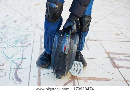 Man Legs On Mono Wheel