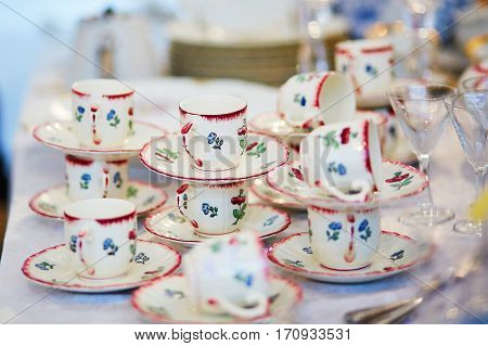Many Porcelain Tea Cups On Flea Market In Paris