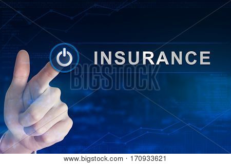 double exposure business hand clicking insurance button with blurred background
