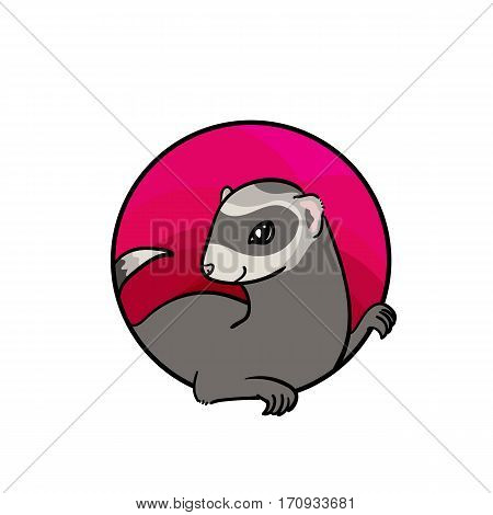 Ferret. Animal art, cute cartoon style, vector hand drawn illustration. Suitable for pet shop or zoo ads, label design or animal food package element