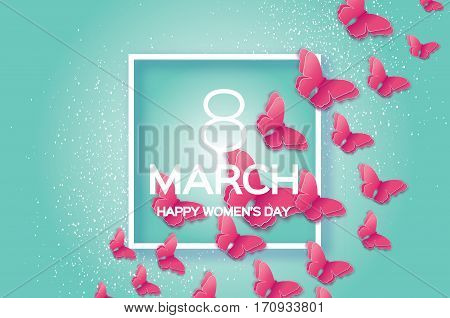 8 March. Happy Mother's Day. Paper cut Pink Wild Butterfly. Beautiful Origami insect holiday background. Nature Greeting card. Happy Women's Day. Square frame. Vector illustration