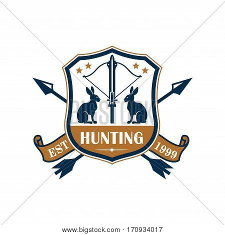 Hunting sport club badge. Rabbit, hare, arrows and crossbow on heraldic shield, decorated by star and ribbon banner with foundation date. Hunting sport design