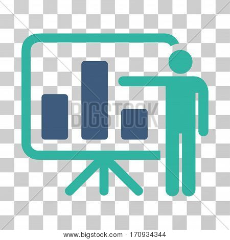 Bar Chart Presentation icon. Vector illustration style is flat iconic bicolor symbol cobalt and cyan colors transparent background. Designed for web and software interfaces.