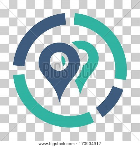 Geo Diagram icon. Vector illustration style is flat iconic bicolor symbol cobalt and cyan colors transparent background. Designed for web and software interfaces.
