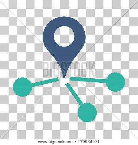Geo Network icon. Vector illustration style is flat iconic bicolor symbol cobalt and cyan colors transparent background. Designed for web and software interfaces.