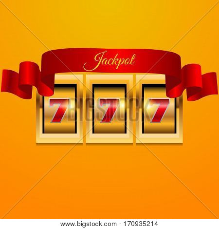 Gold Red Slot Machine Red Ribbon Background Eps 10 Vector.
