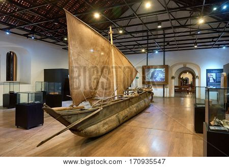 GALLESRI-LANKA/JANUARY 302017: The old fishing sailboat in the maritime museum