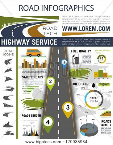 Road infographic. Roadway with pin pointers, road and car icons, graph, chart and diagram with fuel and road quality, safety and path length information. Highway service report or presentation design